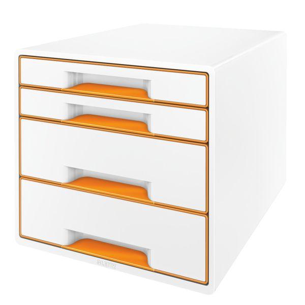 Box zásuvkový Leitz WOW 4 zásuvky oranžový/bílý