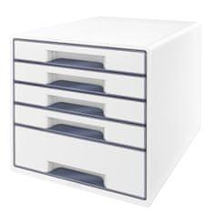 Box zásuvkový Leitz WOW 5 zásuvek šedý/bílý
