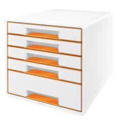 Box zásuvkový Leitz WOW 5 zásuvek oranžový/bílý