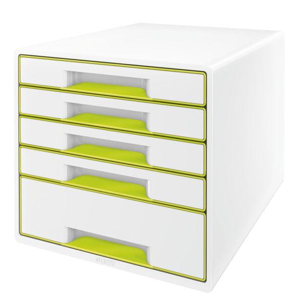 Box zásuvkový Leitz WOW 5 zásuvek zelený/bílý