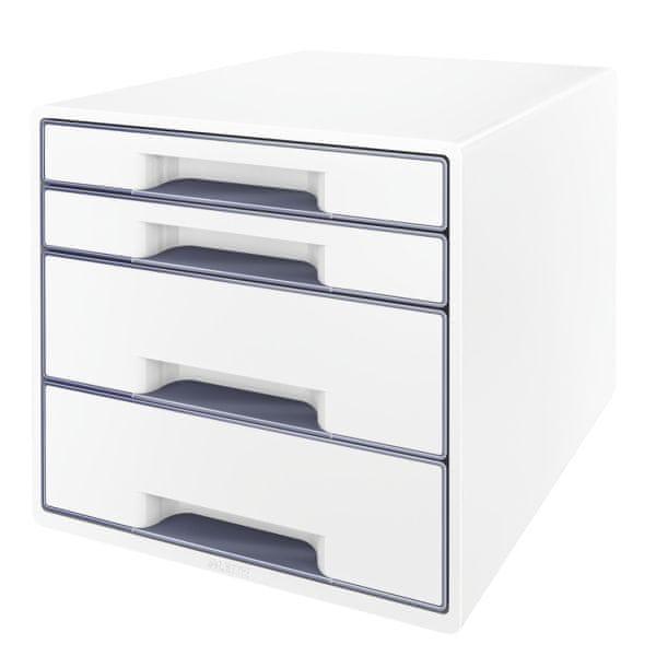 Box zásuvkový Leitz WOW 4 zásuvky šedý/bílý