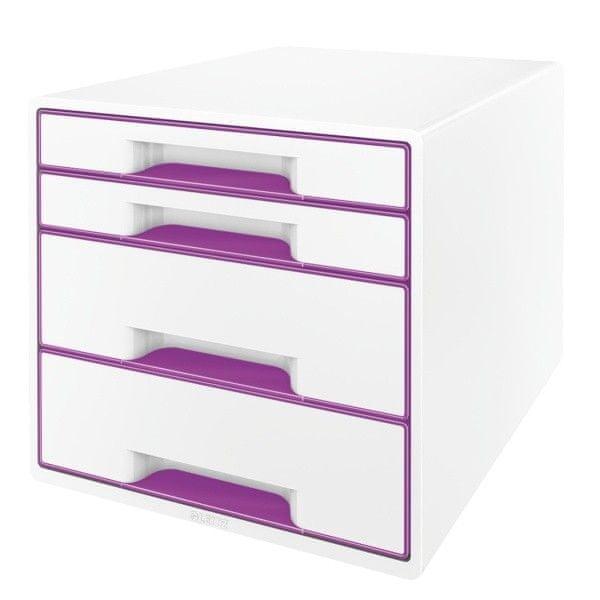 Box zásuvkový Leitz WOW 4 zásuvky purpurový