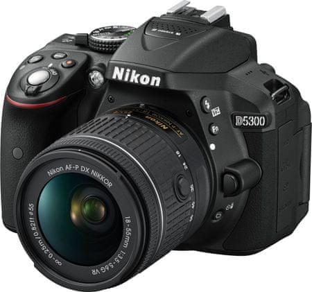 Nikon digitalni fotoaparat D5300 AF-P 18-55 VR, črn