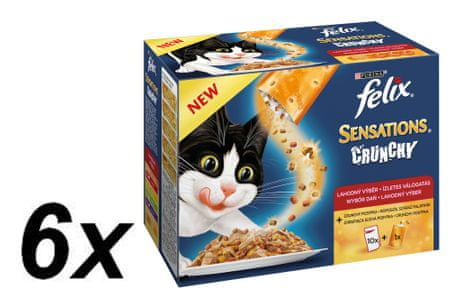 Felix mokra hrana žele za mačke Sensations,6 x (10 x 100 g + 40 g hrustljavi)