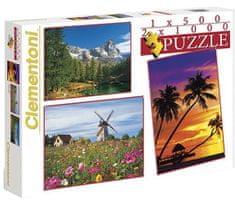 Clementoni Puzzle Krajina 1 X 500 + 2 X 1000 dielikov
