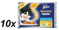 Felix hrana za mačke Senstaions Crunchy žele z lososom, tuno, 10 x (3 x 100g + 12g Crunchy)