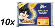 Felix Sensations Crunchy v želé s hovädzím, kuraťom a chrumkavou posýpkou 10 x (3 x 100g + 12g Crunchy)