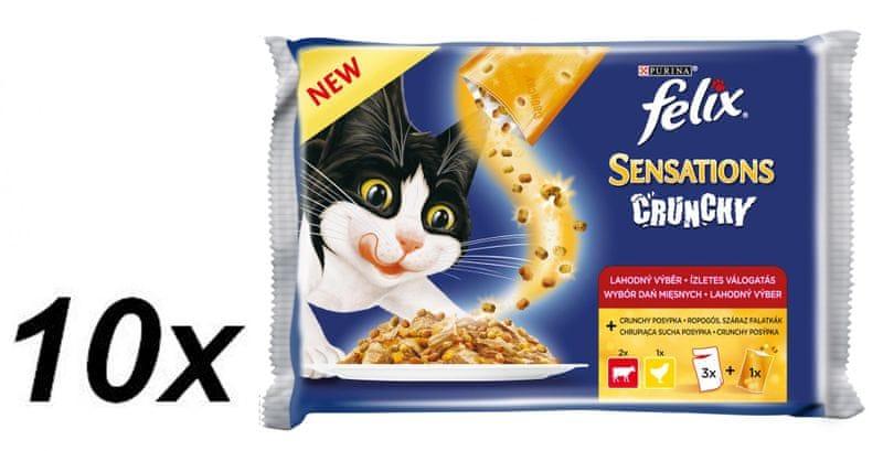 Felix Sensations Crunchy v želé s hovězím, kuřetem a křupavou posypkou 10 x (3 x 100g + 12g Crunchy)