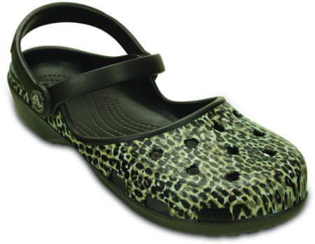 Crocs sandali Karin Leopard Clog Espresso, ženski, 38-39 (W8)