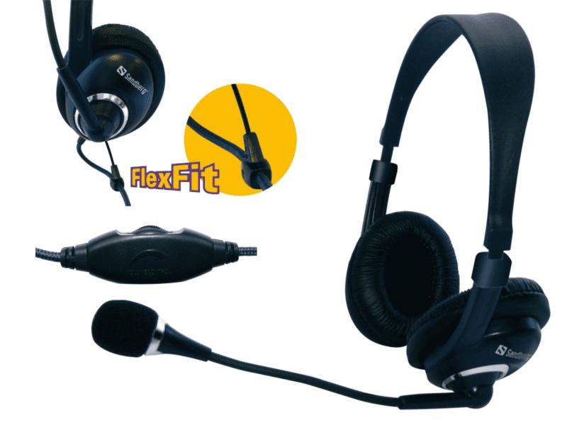 Sandberg sluchátka Headset One s mikrofonem, černá