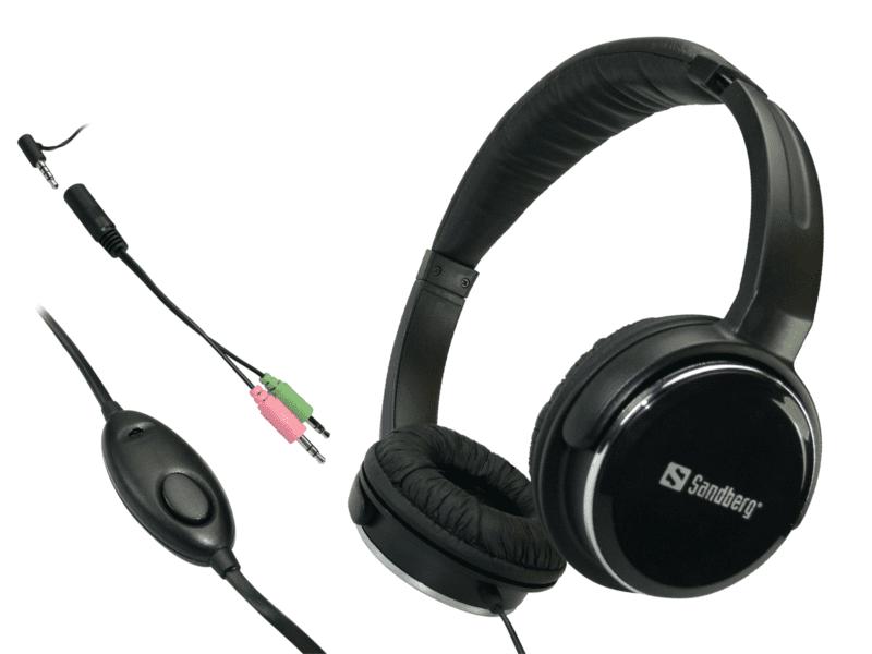 Sandberg sluchátka Home'n Street s mikrofonem, černá