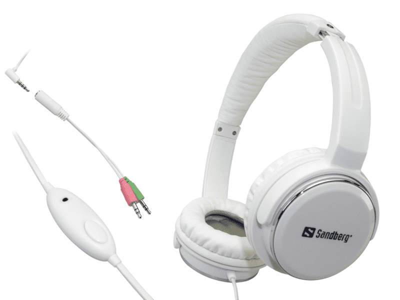 Sandberg sluchátka Home'n Street s mikrofonem sluchátka s mikrofonem, bílá