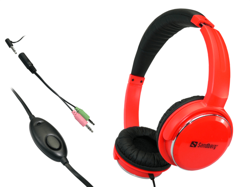 Sandberg sluchátka Home'n Street s mikrofonem, červená