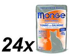 Monge mokra hrana za mačke Natural, tuna z lososom v želeju, 24 x 80 g