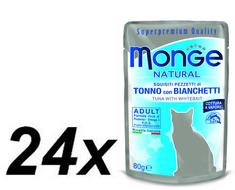 Monge mokra hrana za mačke Natural, tuna s slanikom v želeju, 24 x 80 g