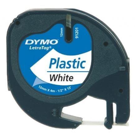 Dymo Trak za tiskanje LetraTag, širina 12mm, bel-plastificiran, 91201