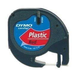 Dymo Trak za tiskanje LetraTag, širina 12mm, rdeč-plastificiran, 91203