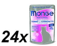 Monge mokra hrana za mačke Natural, tuna z rakci v želeju, 24 x 80 g