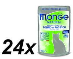 Monge mokra hrana za mačke Natural, tuna v želeju, 24 x 80 g