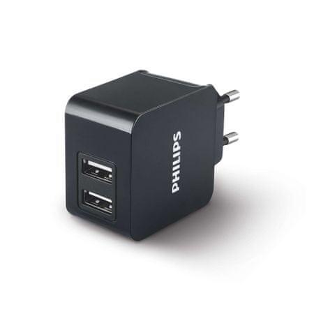 PHILIPS USB hálózati adapter, 3.1 A, Fekete
