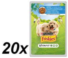 Friskies mokra hrana za mlade pse Vitafit, piščanec in korenje v omaki, 20 x 100 g