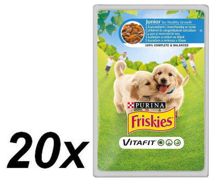 Friskies VitaFit JUNIOR s kuřetem a mrkví ve šťávě 20 x 100g