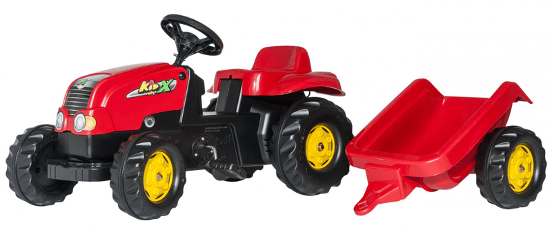 Rolly Toys Šlapací traktor Rolly Kid s vlečkou - červený