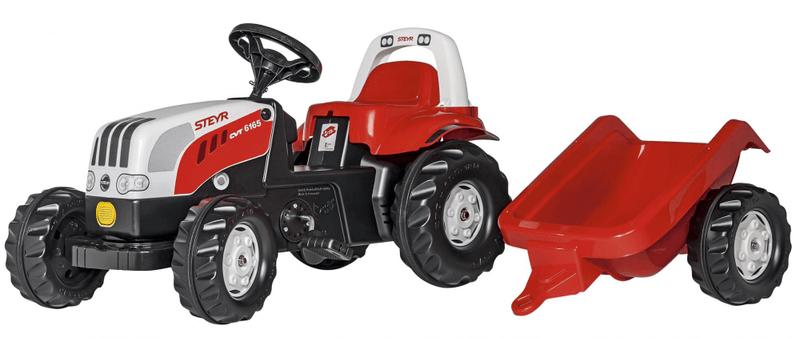 Rolly Toys Šlapací traktor Rolly Kid Steyer s vlečkou-červený