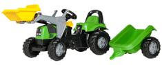 Rolly Toys traktor na pedala Deutz, s prikolico in nakladačem