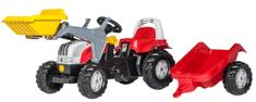 Rolly Toys rdeč traktor s prikolico