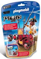 Playmobil pirat z interaktivnim topom, rdeč 6163