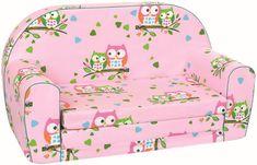BINO Mini kanapé bagoly mintával, Rózsaszín