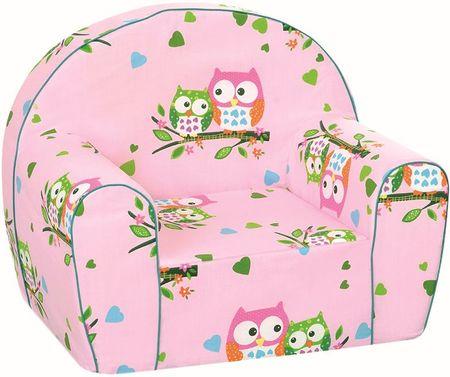 BINO Fotel dziecięcy, różowe sowy