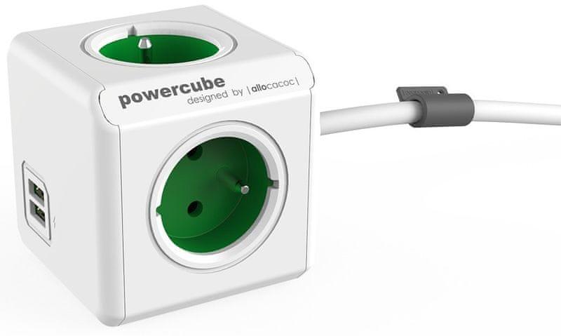 PowerCube Extended USB, zelená, 1,5 m