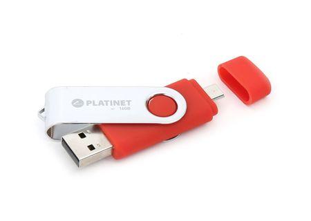 Platinet ključek USB2.0+MicroUSB OTG Android 32GB, rdeč