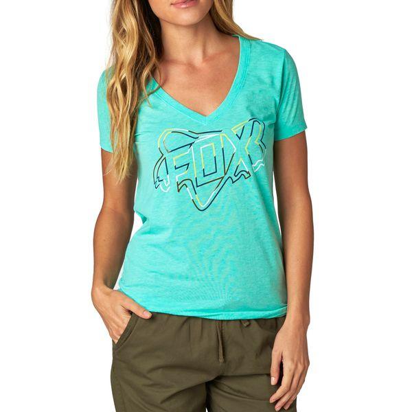 FOX dámské tričko Configuration Vneck S tyrkysová