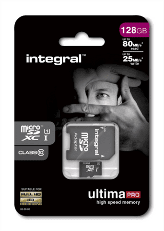 Integral spominska kartica 128GB Micro SDXC class10 80MB/s + adapter