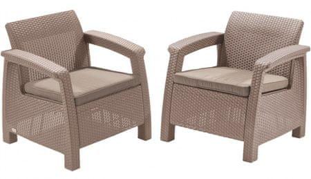 Allibert 2-delni komplet stolov Corfu Duo, z blazinami, kapučino