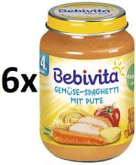 Bebivita Zelenina - špagety s krůtím masem - 6x190g