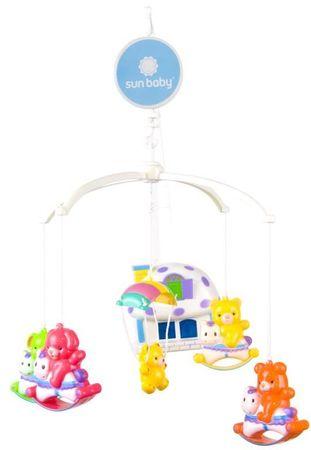 Sun Baby Karuzela misie na konikach z lampką - domkiem