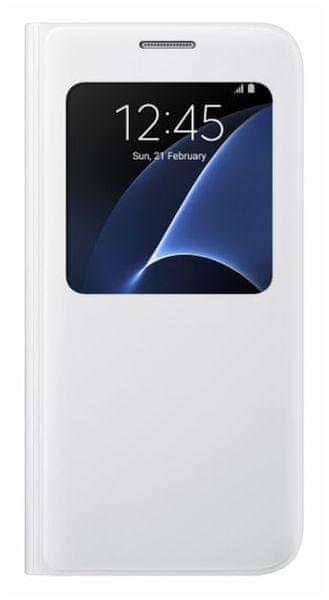 Samsung flipové pouzdro S-view, Galaxy S7 EDGE, bílé - II. jakost