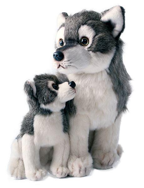 Rappa Plyšový vlk s mládětem sedící, 27cm