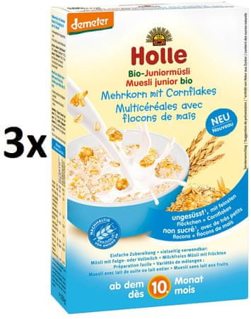 Holle Bio Junior celozrnné müsli s obilnými vločkami - 3 x 250g