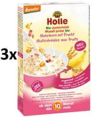 Holle Bio Junior vícezrnné müsli s ovocem - 3 x 250g