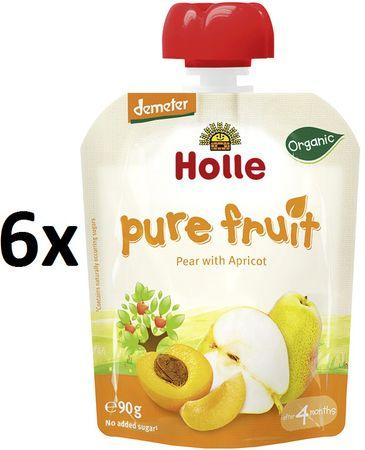 Holle Bio ovocné pyré hruška, marhuľa 6 x 90g
