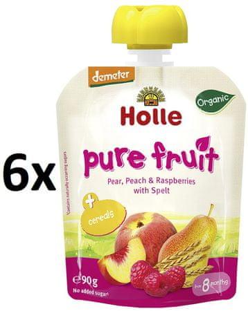 Holle Bio ovocné pyré hruška, broskev, maliny, špalda - 6 x 90g