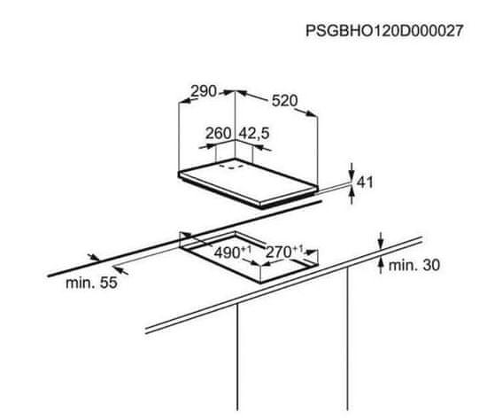 Electrolux plinska kuhalna plošča EGC3322NVK