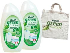 Real pralni gel Green Clean, 2 x 1 l + vrečka