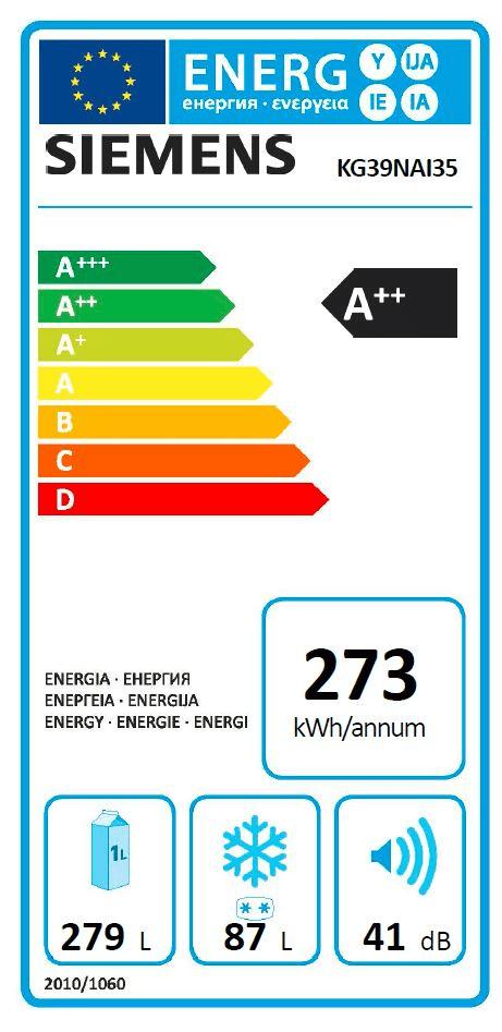 Siemens lednice s mrazákem KG39NAI35