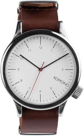 Komono zegarek Magnus Silver burgundy
